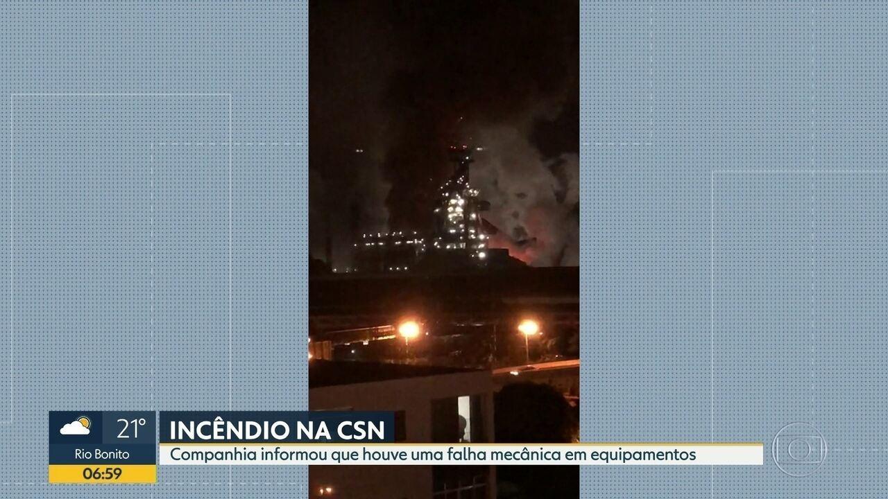 Incêndio assusta funcionários da CSN, em Volta Redonda