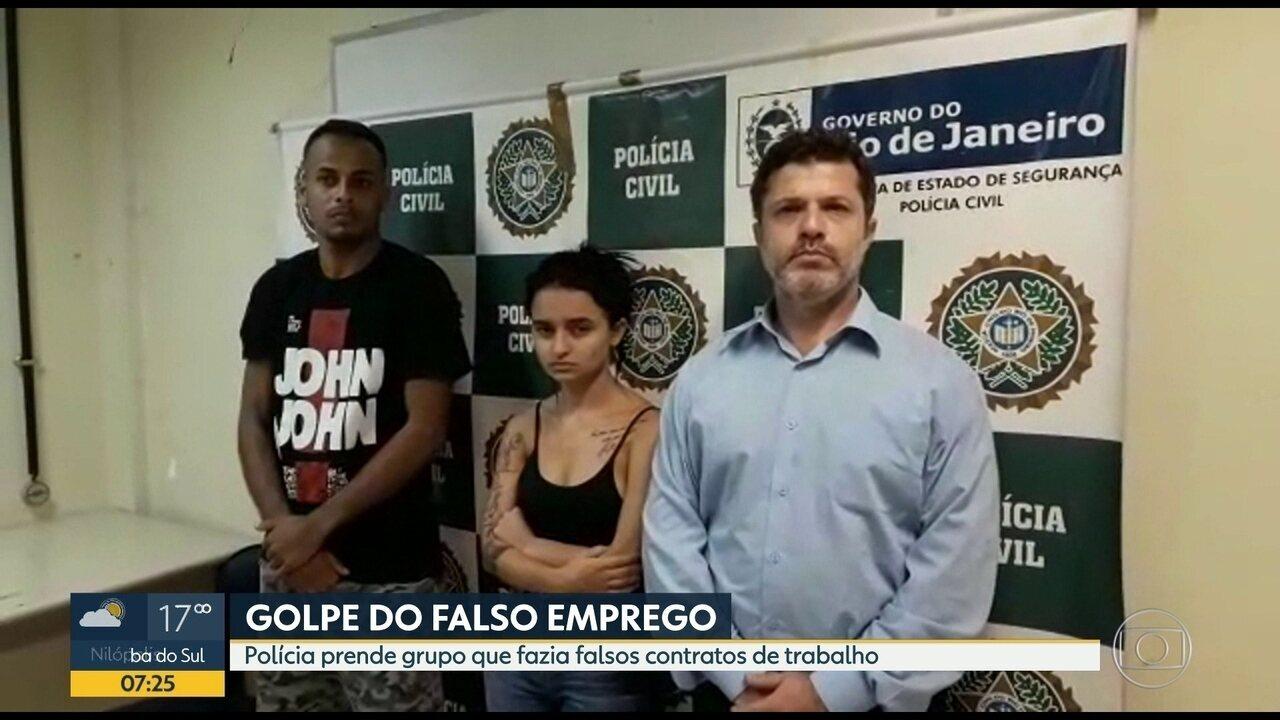 Polícia prende parte de grupo que aplicava golpe do falso emprego no RJ