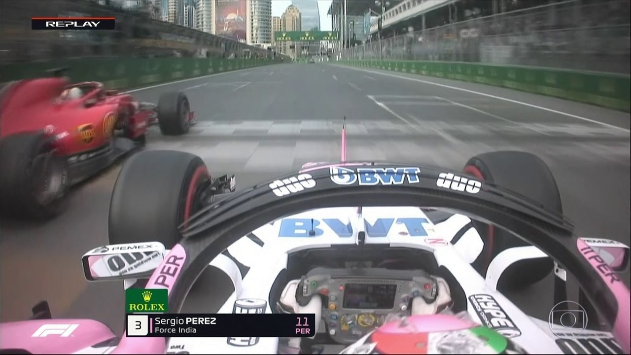 Pérez ultrapassa Vettel e fica com a terceira colocação no GP do Azeribaijão