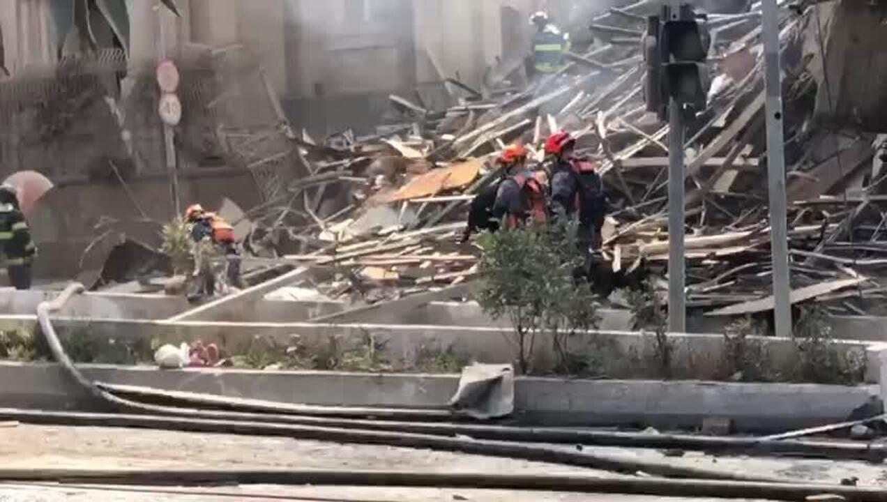 Cãe farejadores auxiliam Bombeiros nas buscas em escombros de prédio em SP