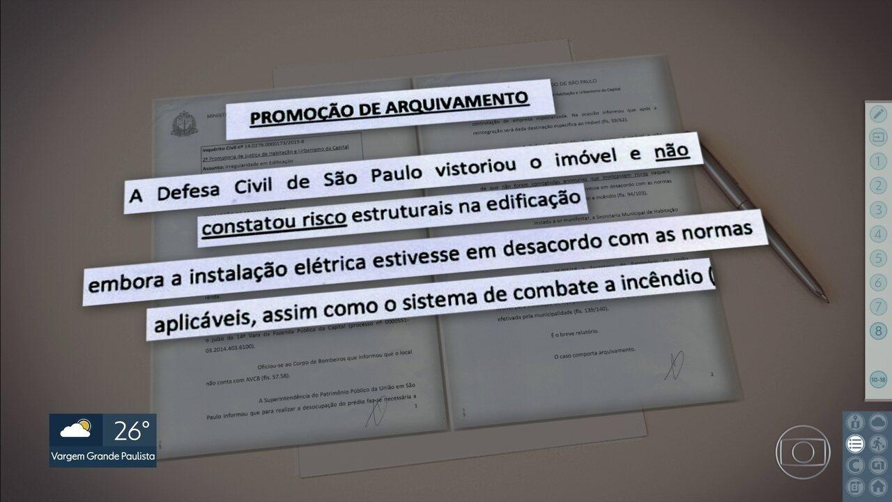Documento do Ministério Público mostra resultado da vistoria feita pela Defesa Civil