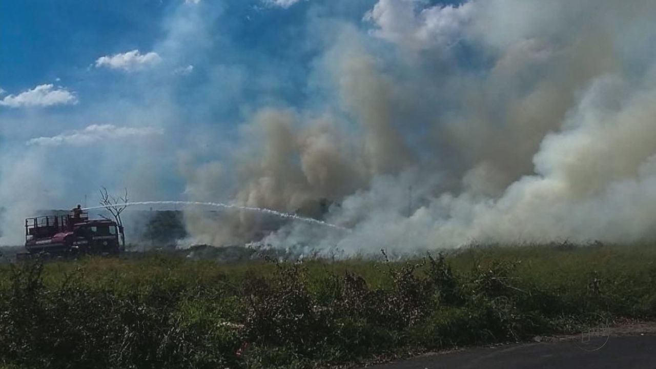 Incêndio atinge mato ao lado da antiga estação ferroviária de Araraquara