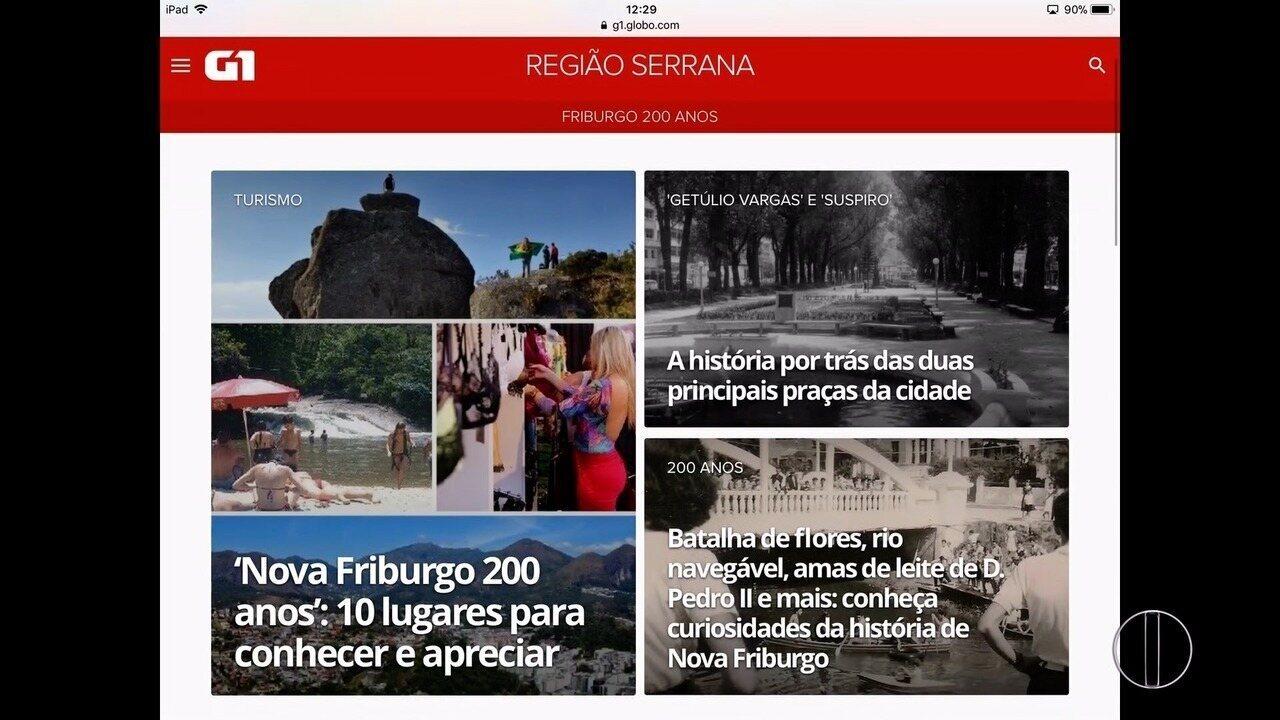 G1 lança página especial em homenagem aos 200 anos de Nova Friburgo