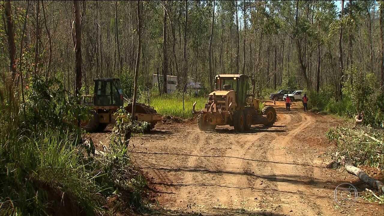 Canteiro de obras para novo vilarejo em Mariana é instalado