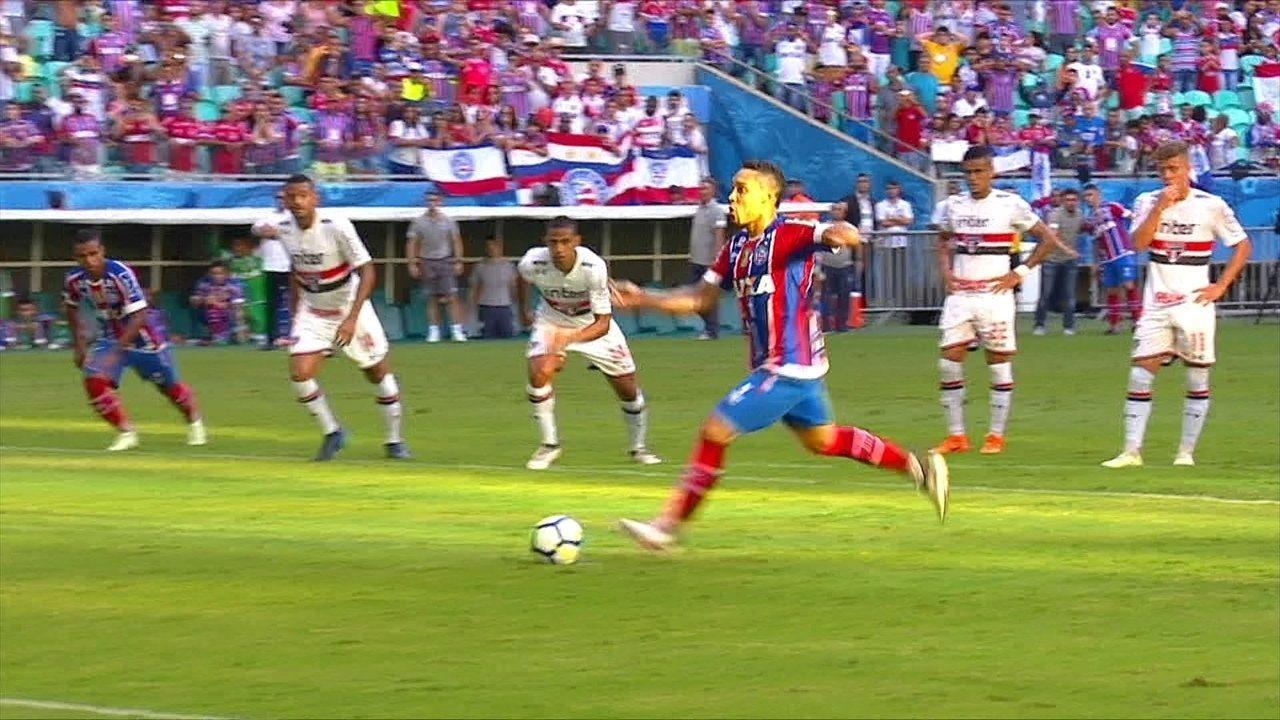 Os gols de Bahia 2 x 2 São Paulo pela 5ª rodada do Brasileirão