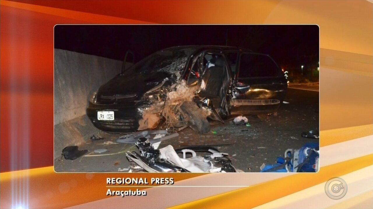 Motorista embriagado invade pista e bate de frente com carro em rodovia de Araçatuba