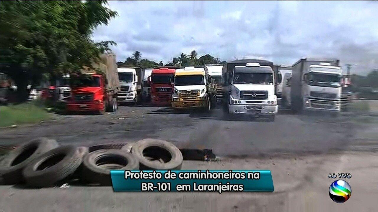 Protesto contra alta do diesel fecha alguns pontos de Sergipe
