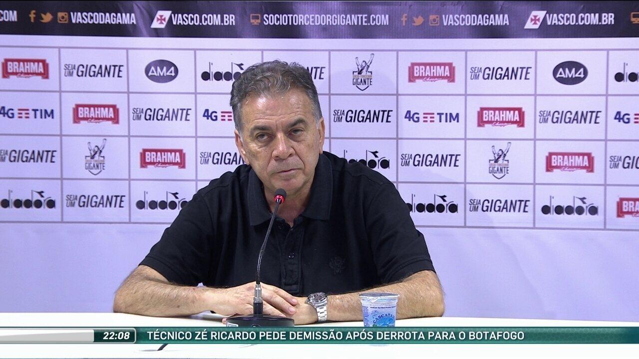 Diretor de Futebol anuncia que Zé Ricardo pediu demissão do comando do Vasco