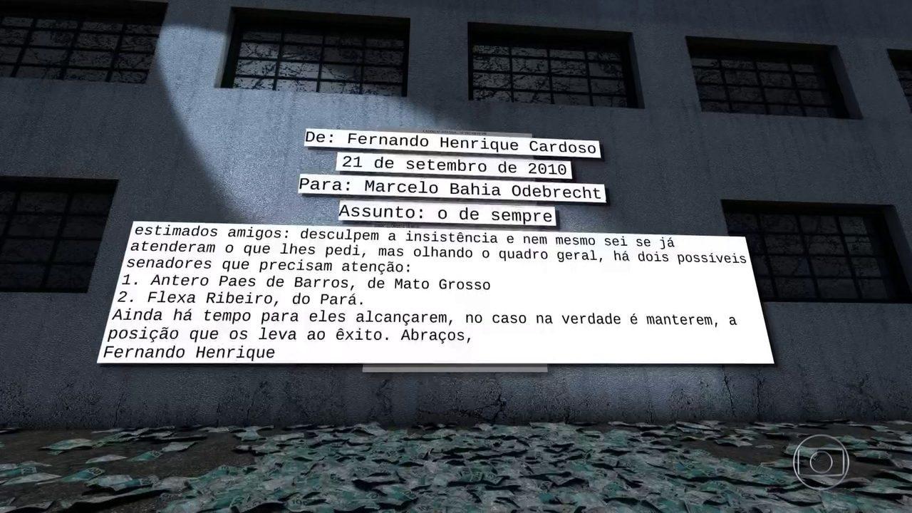 Em mensagens, FH pede doações para a Odebrecht mostra laudo da PF