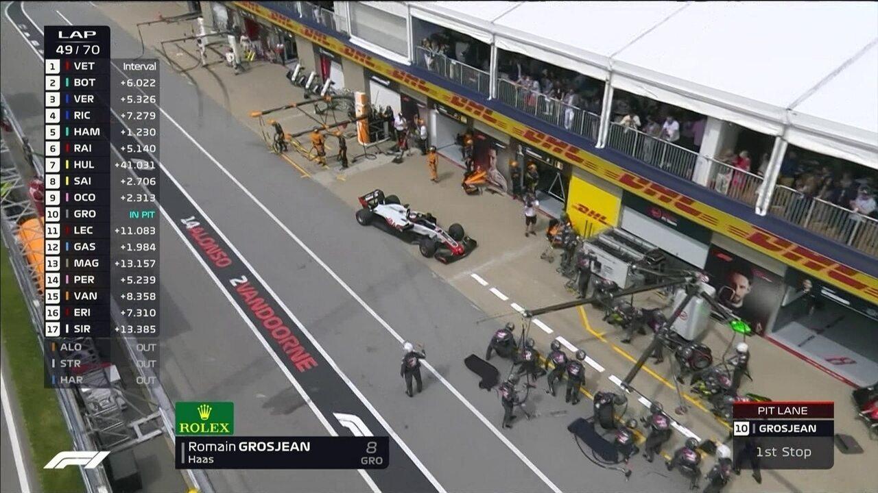 Grosjean vai para os boxes depois de 49 voltas no GP do Canadá
