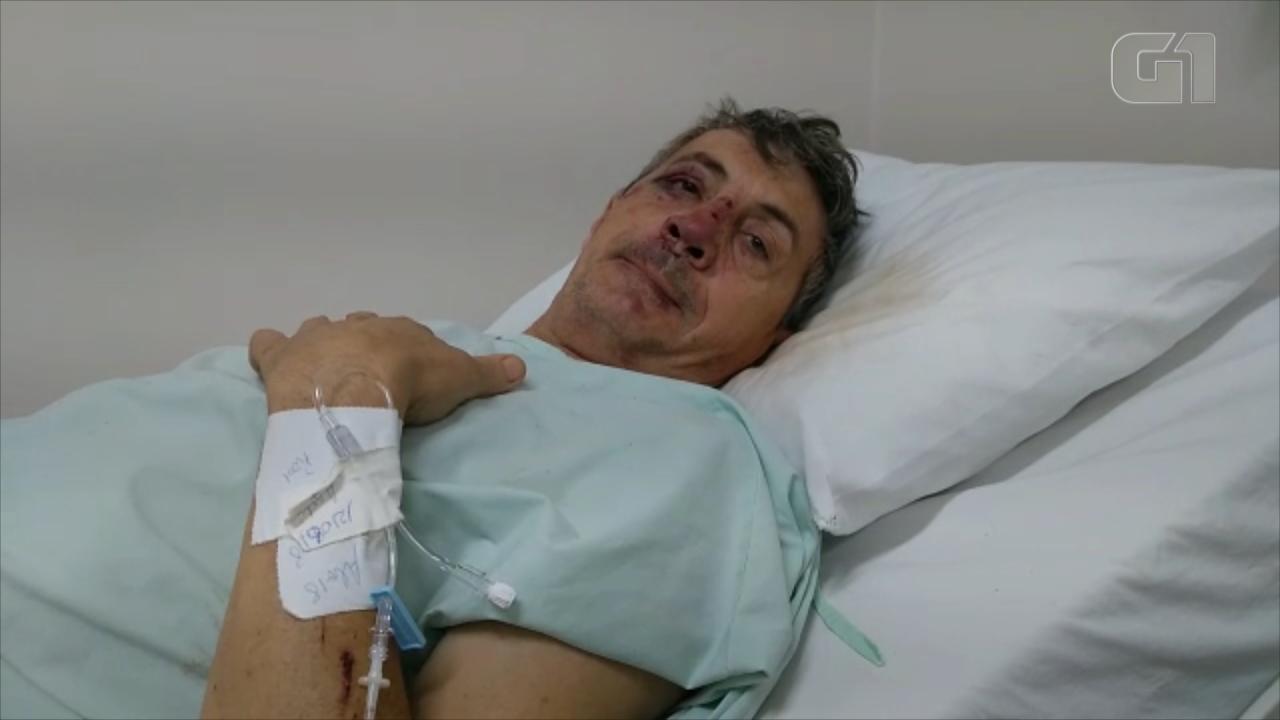 No hospital, motorista que teve caminhão arrastado pelo vento no RS conta experiência
