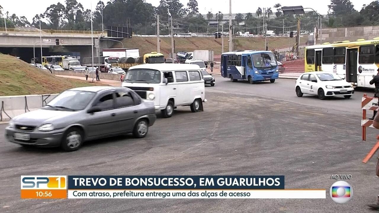 Prefeitura entrega alça de acesso do Trevo de Bonsucesso, em Guarulhos