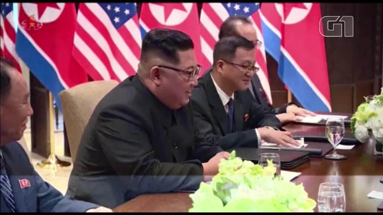 TV norte-coreana divulga novas imagens de encontro entre Kim e Trump