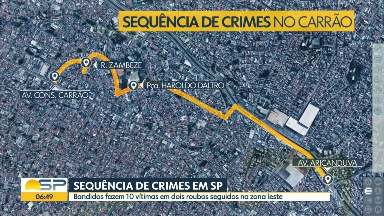 Bandidos roubam banco, carro e assustam pedestres em SP