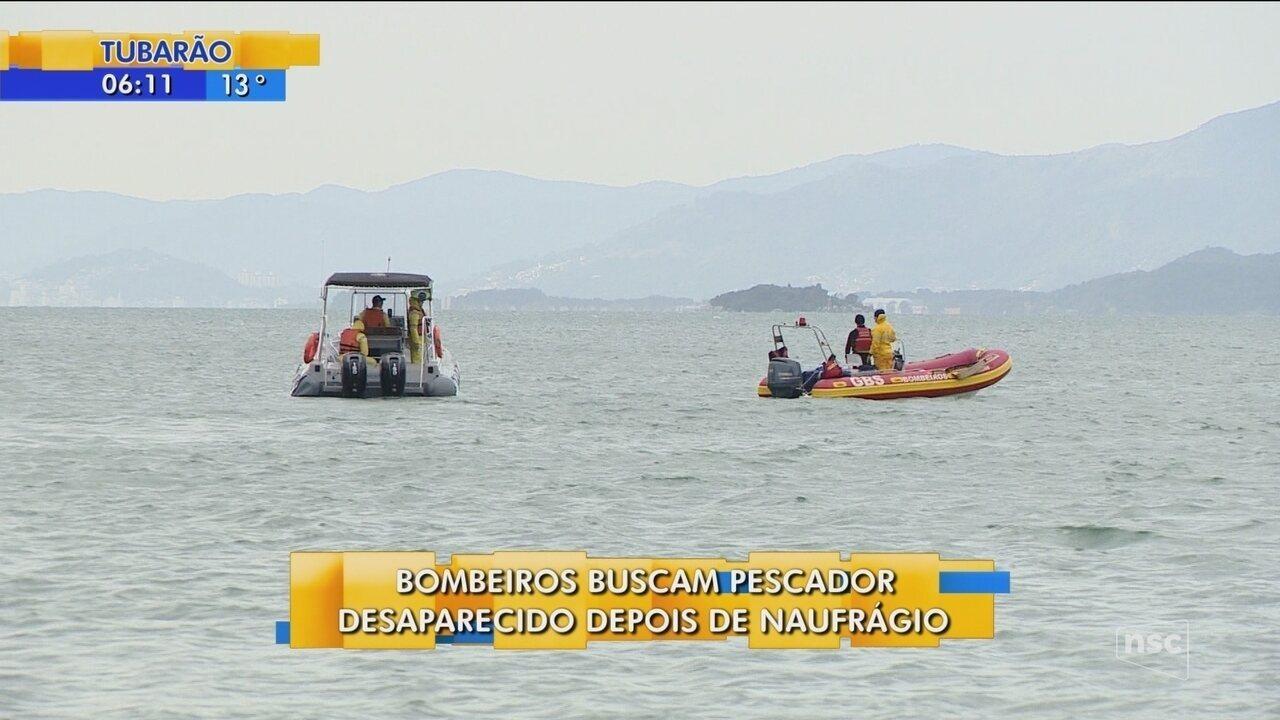 Bombeiros buscam pescador desaparecido após naufrágio em Palhoça