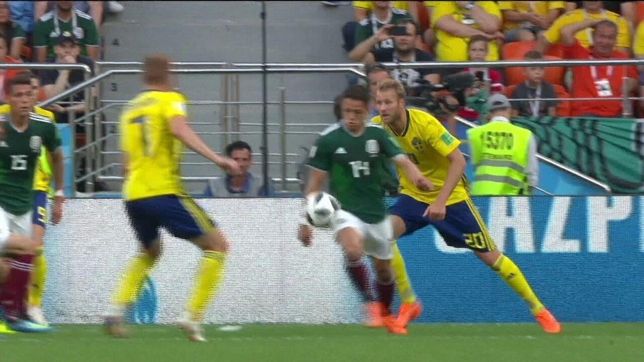 Chicharito leva bola, Suécia pede pênalti e juiz não marca mesmo com VAR 30' do 1ºt