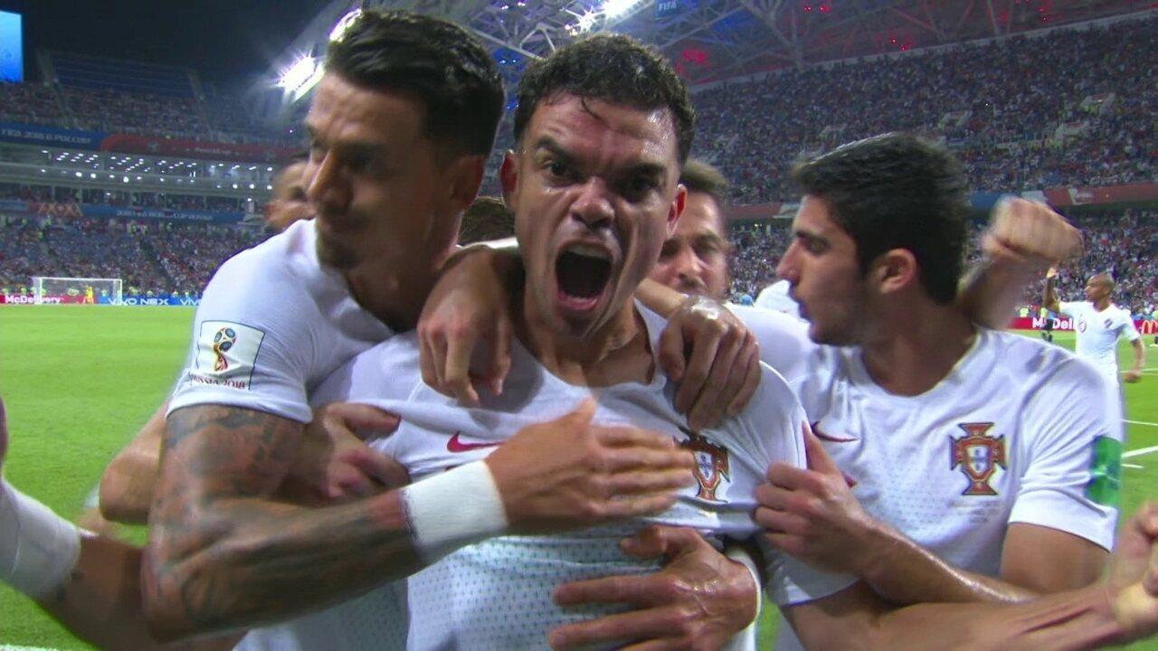 Gol de Portugal! Guerreiro levanta na área, e Pepe cabeceia para empatar aos 9 do 2º tempo