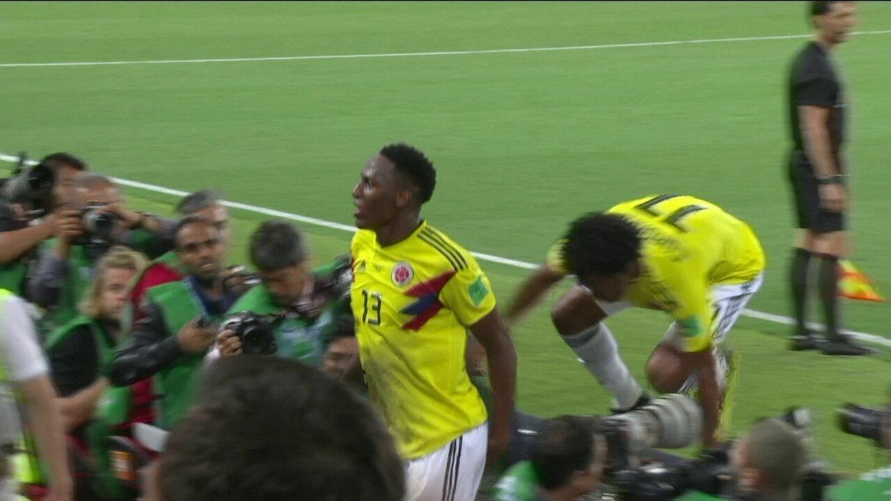 Gol da Colômbia! Mina sobe muito e empata de cabeça aos 47 do 2º tempo