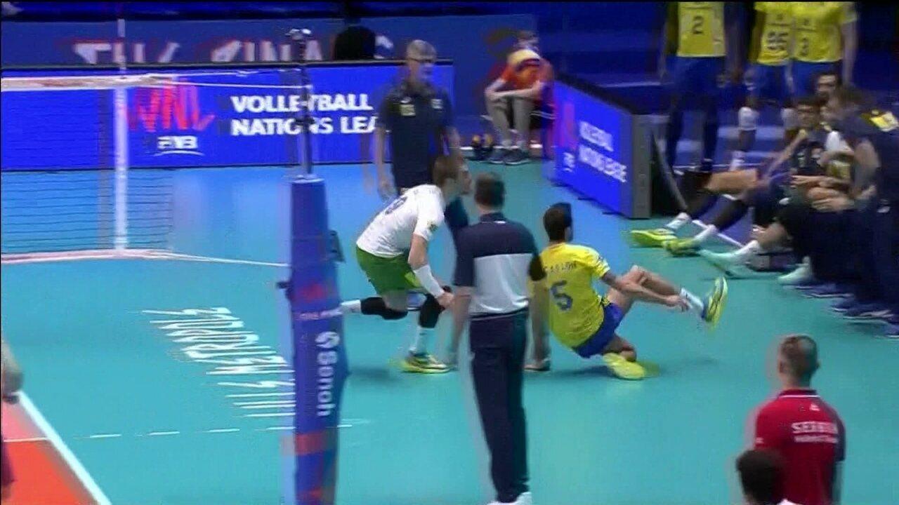 Brasil esbanja categoria com os pés na vitória sobre a Sérvia pela Liga da Nações de Vôlei