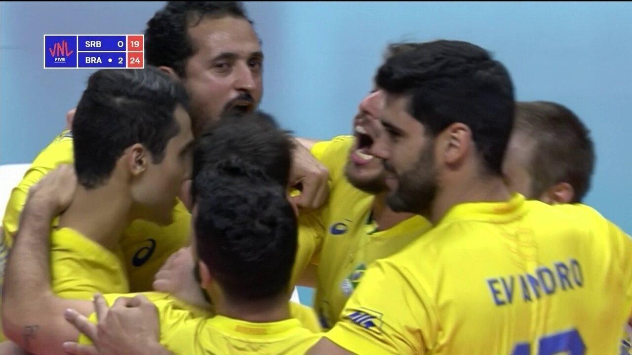 Melhores momentos de Sérvia 0 x 3 Brasil pela Liga das Nações Masculina de Vôlei