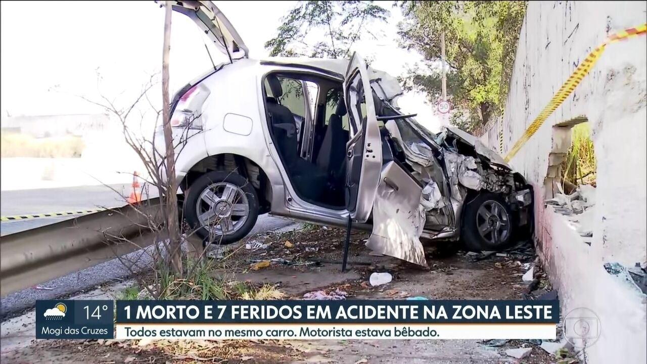 Uma pessoa morre e outras sete ficam feridas em um acidente na Zona Leste da capital