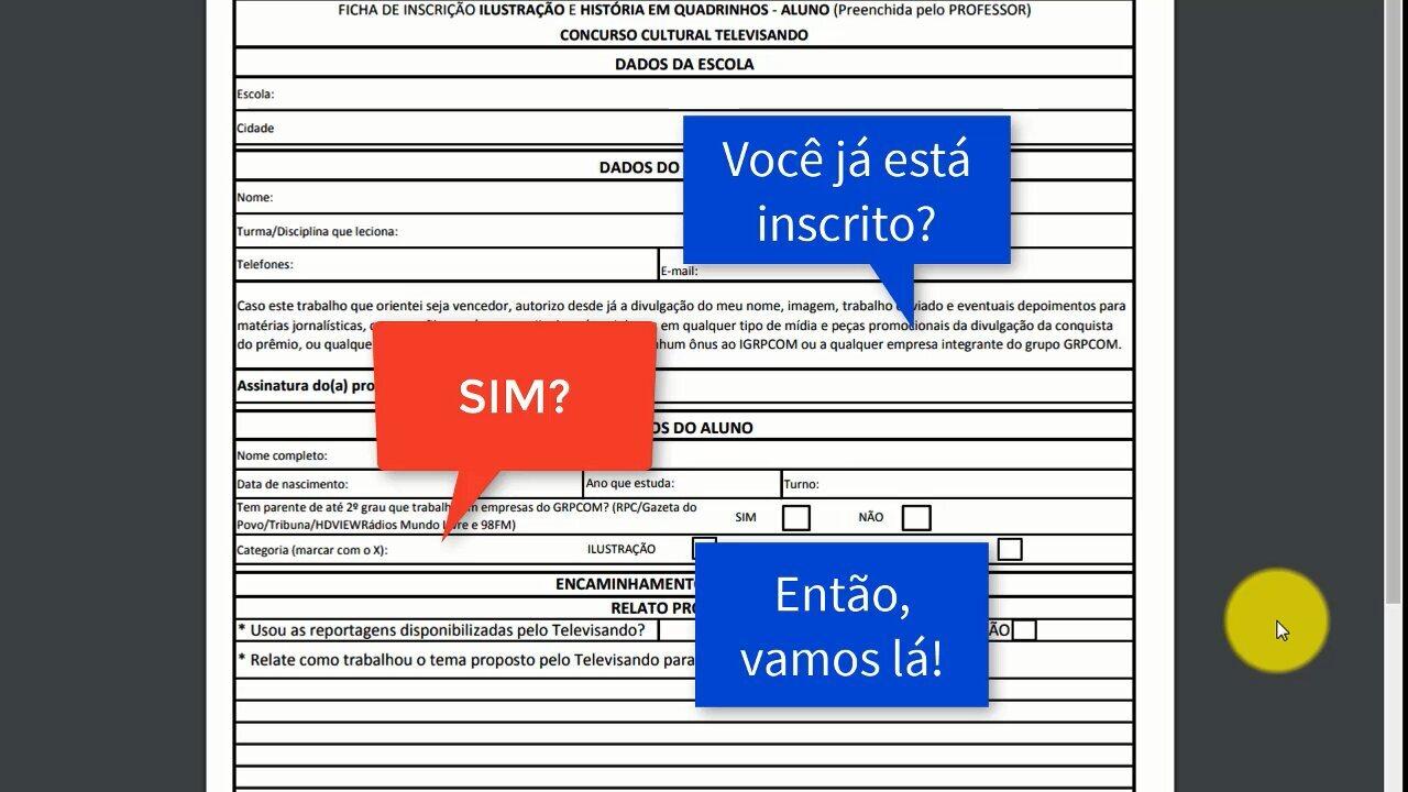 Veja o tutorial de como preencher a ficha de inscrição do aluno