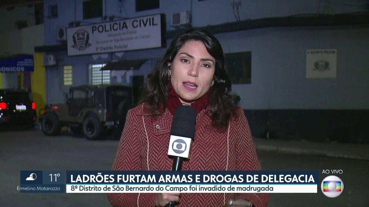 Ladrões furtaram armas e drogas do 8 º Distrito Policial de São Bernado do Campo