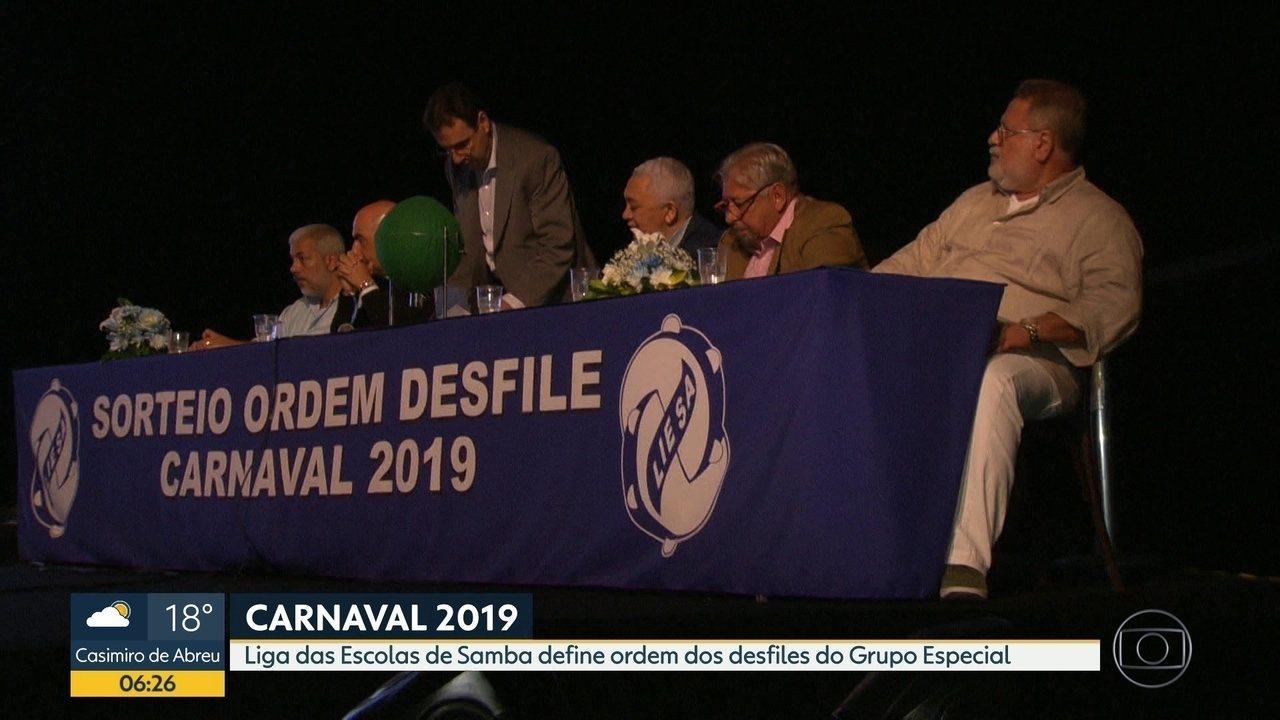 Ordem dos desfiles do Grupo Especial no Carnaval 2019 é definida