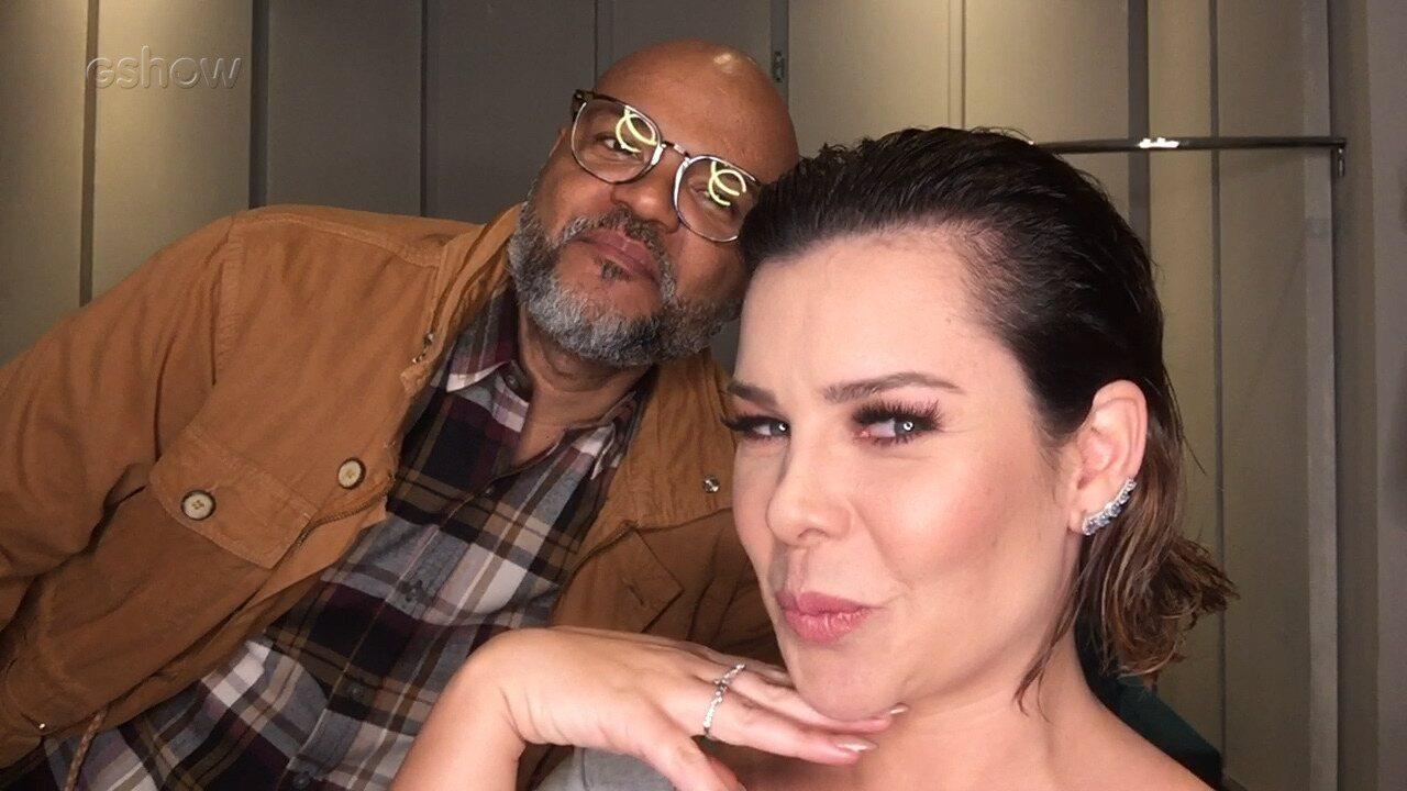Fernanda Souza mostra seu look com o beauty artist Alê de Souza