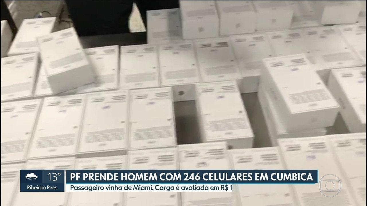 Polícia Federal prende passageiro com 246 celulares no aeroporto de Guarulhos