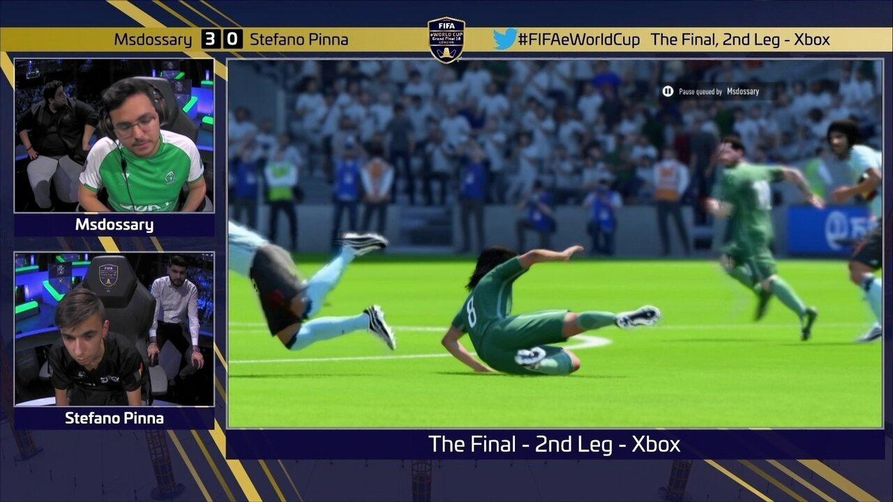 Íntegra do jogo 2, no Xbox, de Msdossary 2 x 0 Stefano Pinna pela final do Mundial de Fifa