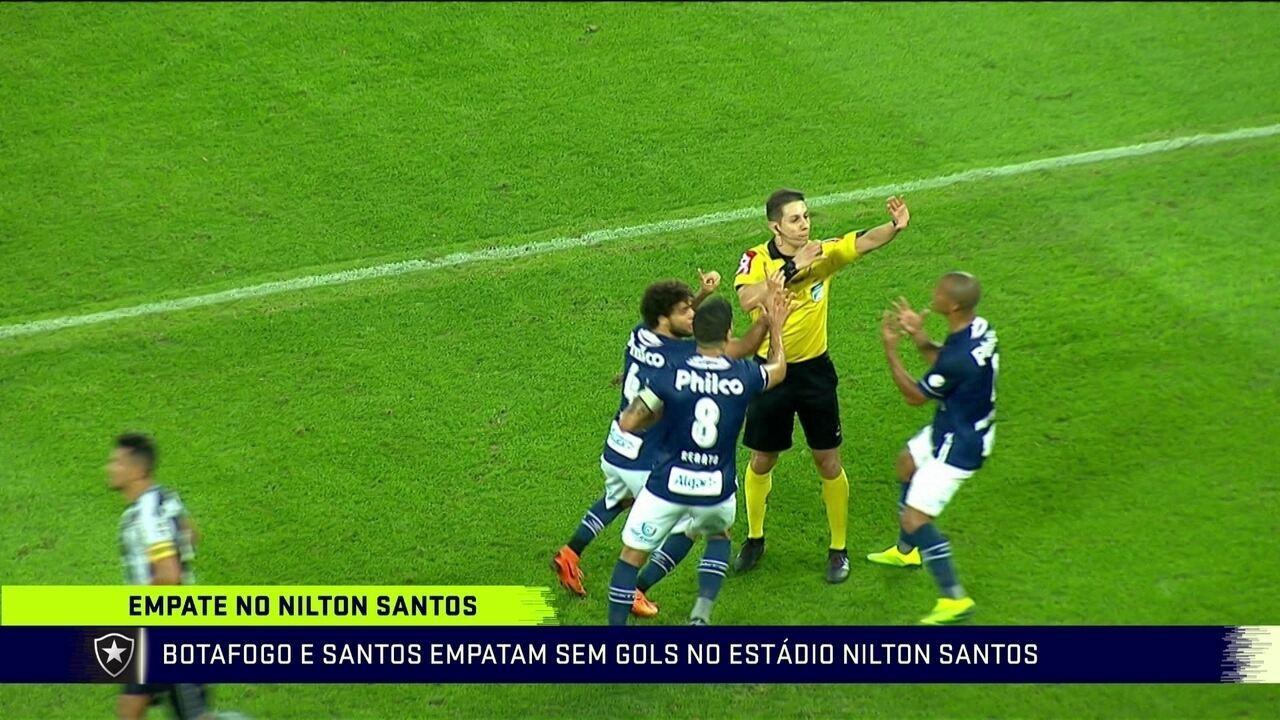 Comentaristas analisam lance de gol anulado do Botafogo diante do Santos 12908ebba3161