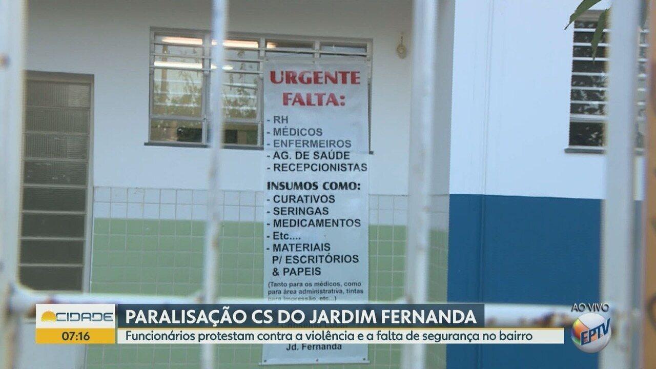 Protesto de funcionários interrompe atividades no posto de saúde em Campinas