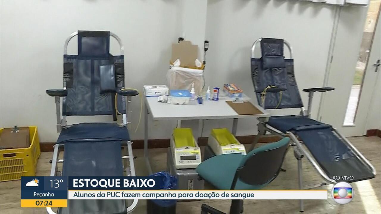Estudantes em Belo Horizonte fazem campanha para doação de sangue
