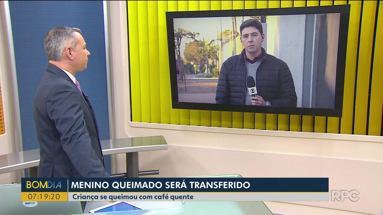 Menino de Cascavel que se queimou com café deve ser transferido para Curitiba