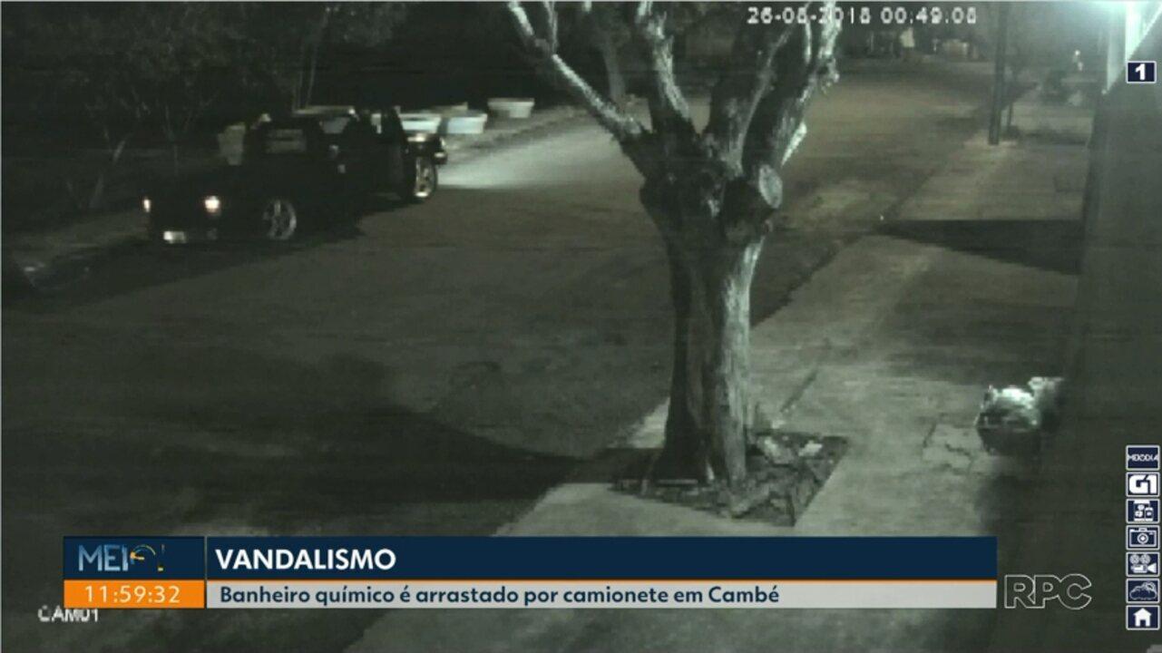 Câmeras de segurança flagram ação de vândalos em Cambé