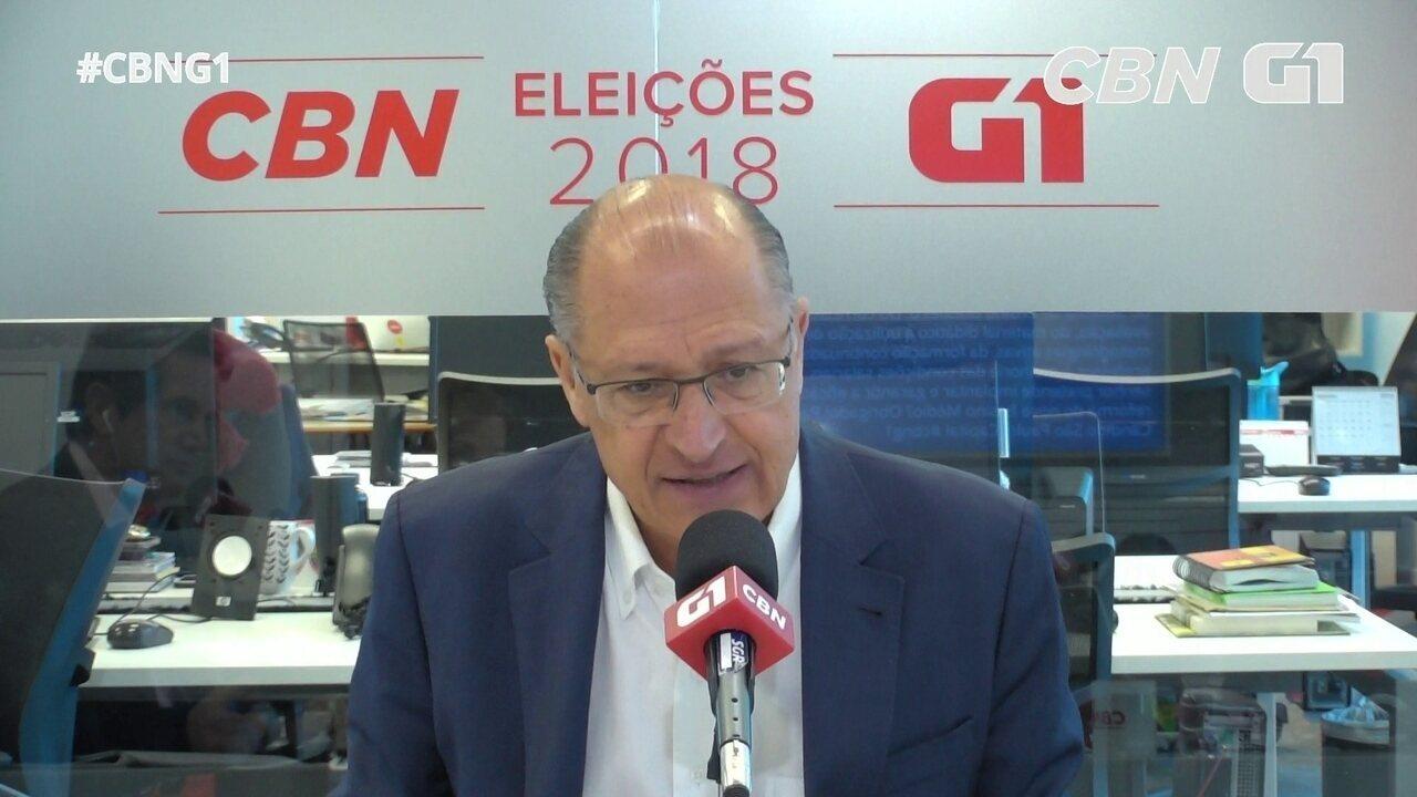Geraldo Alckmin (PSDB) é entrevistado pelo G1 e pela CBN