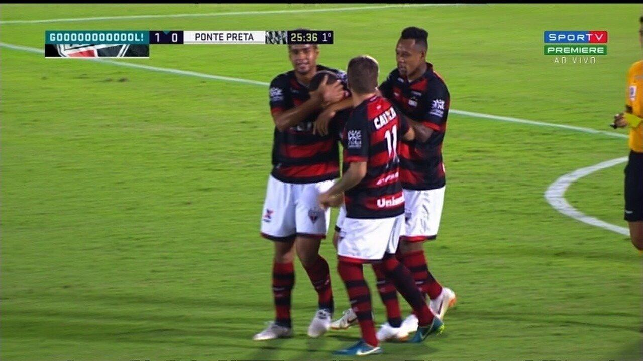 Gol do Atlético-GO! João Paulo recebe de Pedro Bambu e marca contra a Ponte!