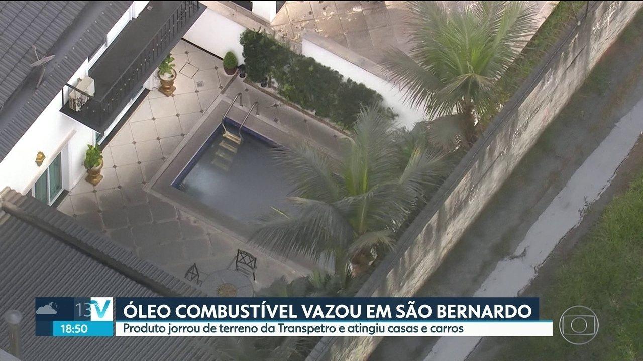 Óleo combustível vaza de duto da Transpetro em São Bernardo do Campo
