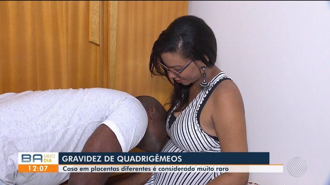 Casal de Feira de Santana comemora gravidez espontânea de quadrigêmeos