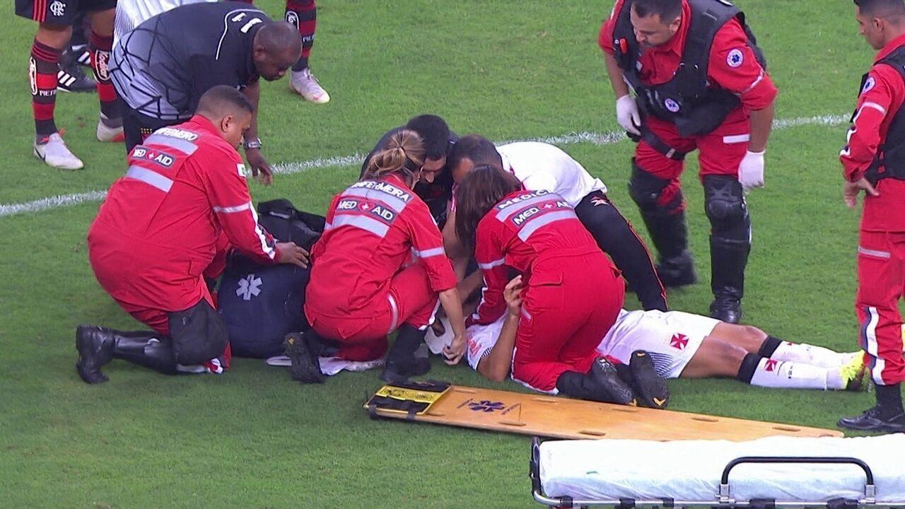Luiz Gustavo sobe, derruba Bruno Silva que deixa o campo de ambulância aos 34 do 2º tempo