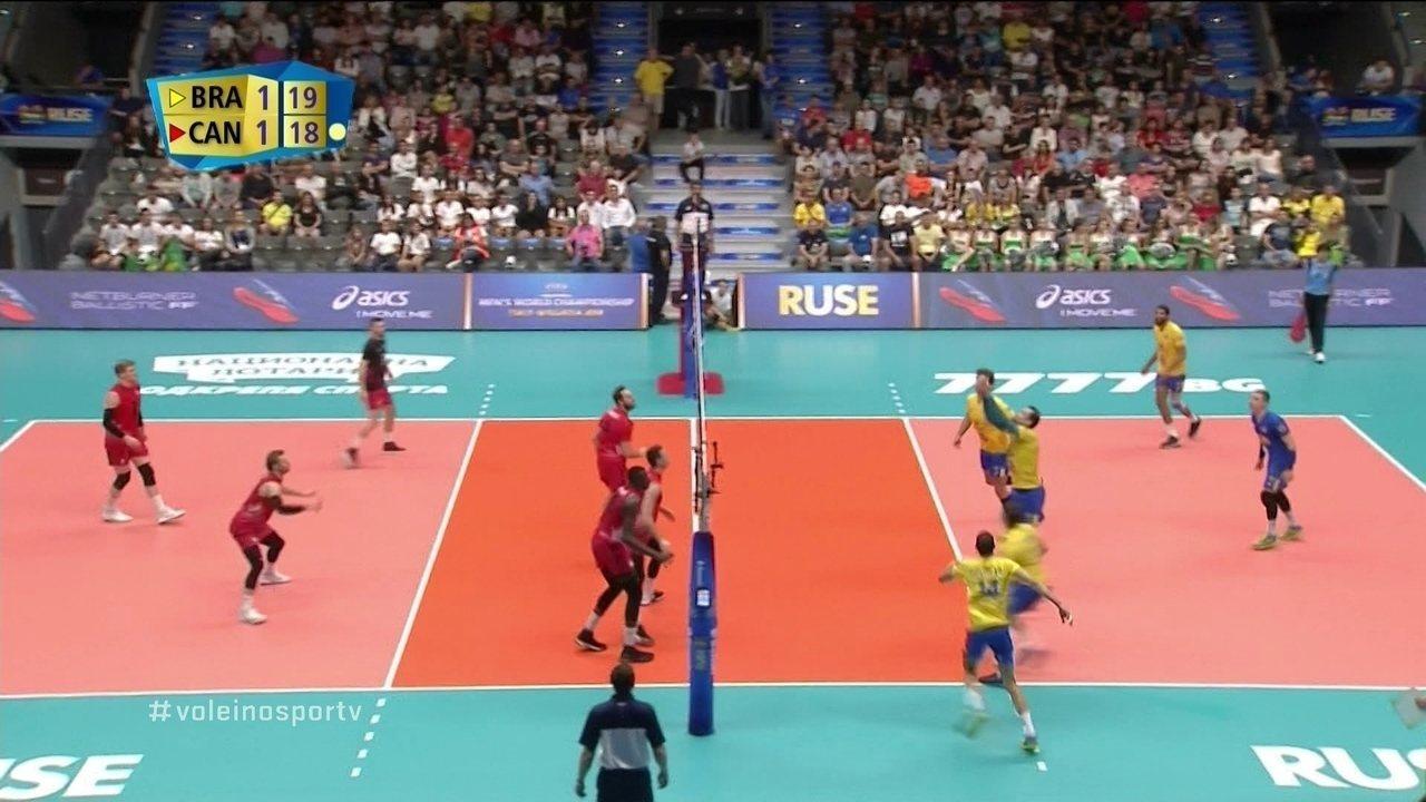 Melhores momentos: Brasil 3 x 1 Canadá pelo Mundial de vôlei masculino