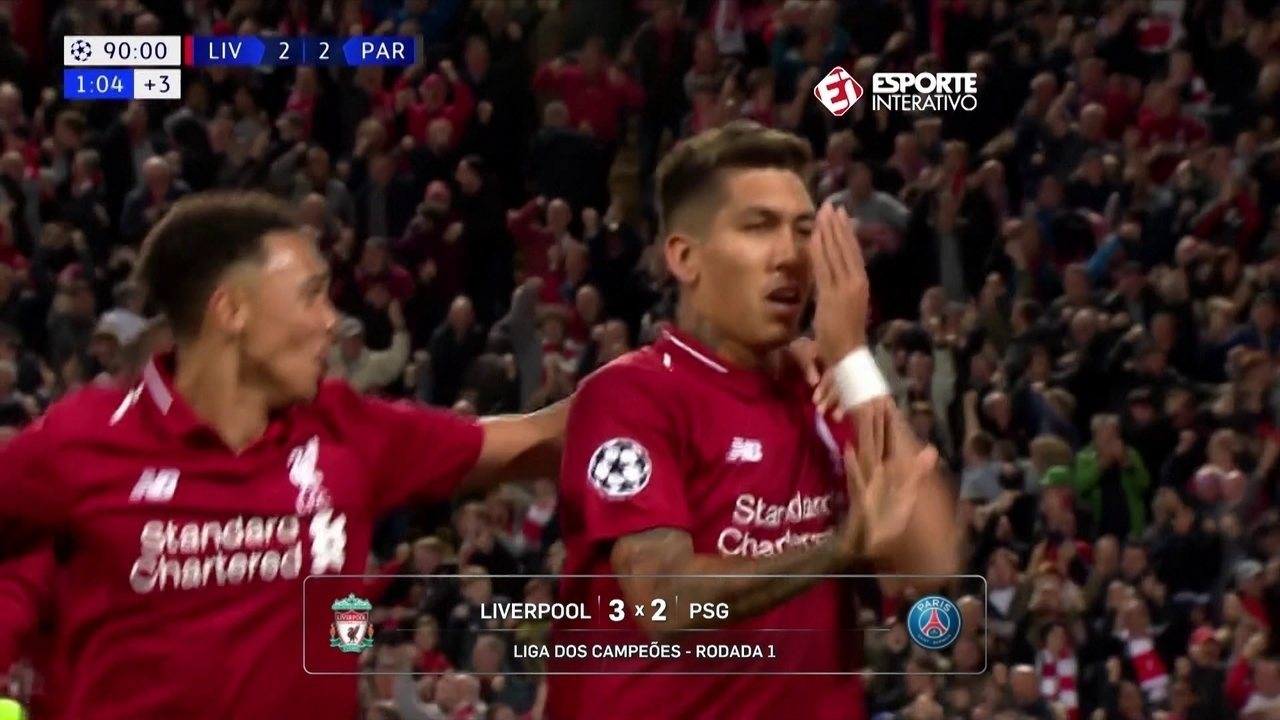 Roberto Firmino entra no segundo tempo e faz gol da vitória do Liverpool contra PSG