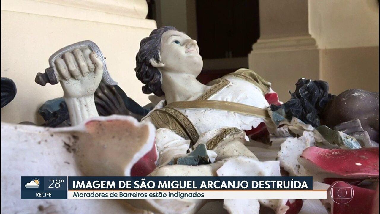 Imagem de santo é destruída em Barreiros, na Zona da Mata