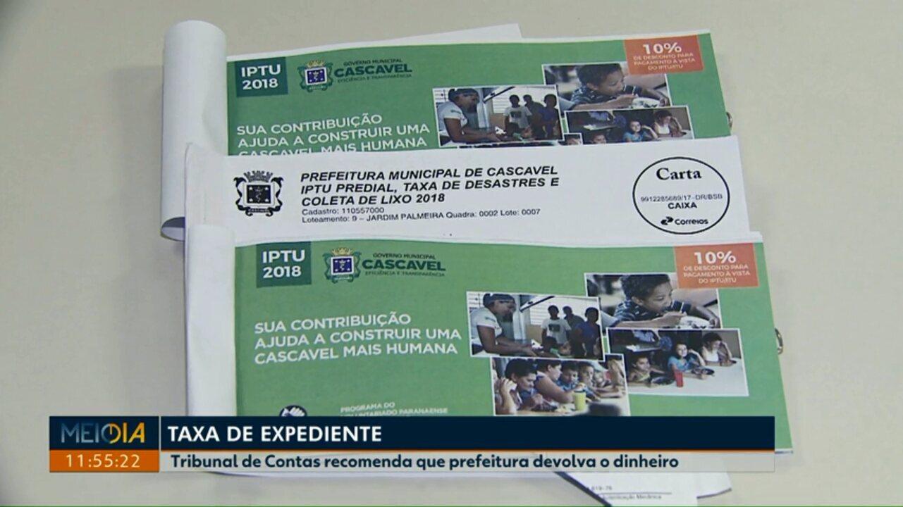 TCE recomenda que prefeitura devolva taxa cobrada nos carnês do IPTU