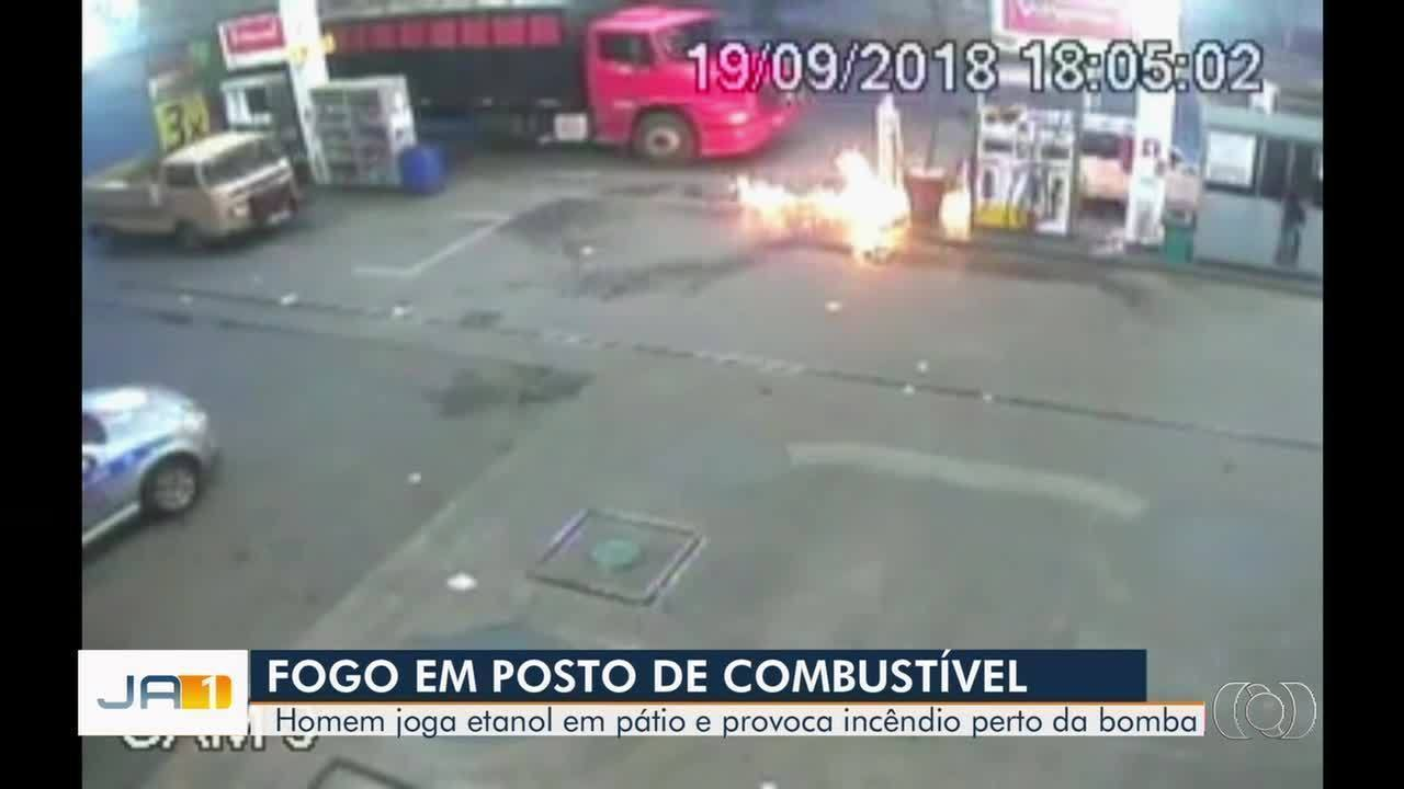 Homem invade posto de combustíveis, derrama etanol e provoca incêndio em posto de Luziânia