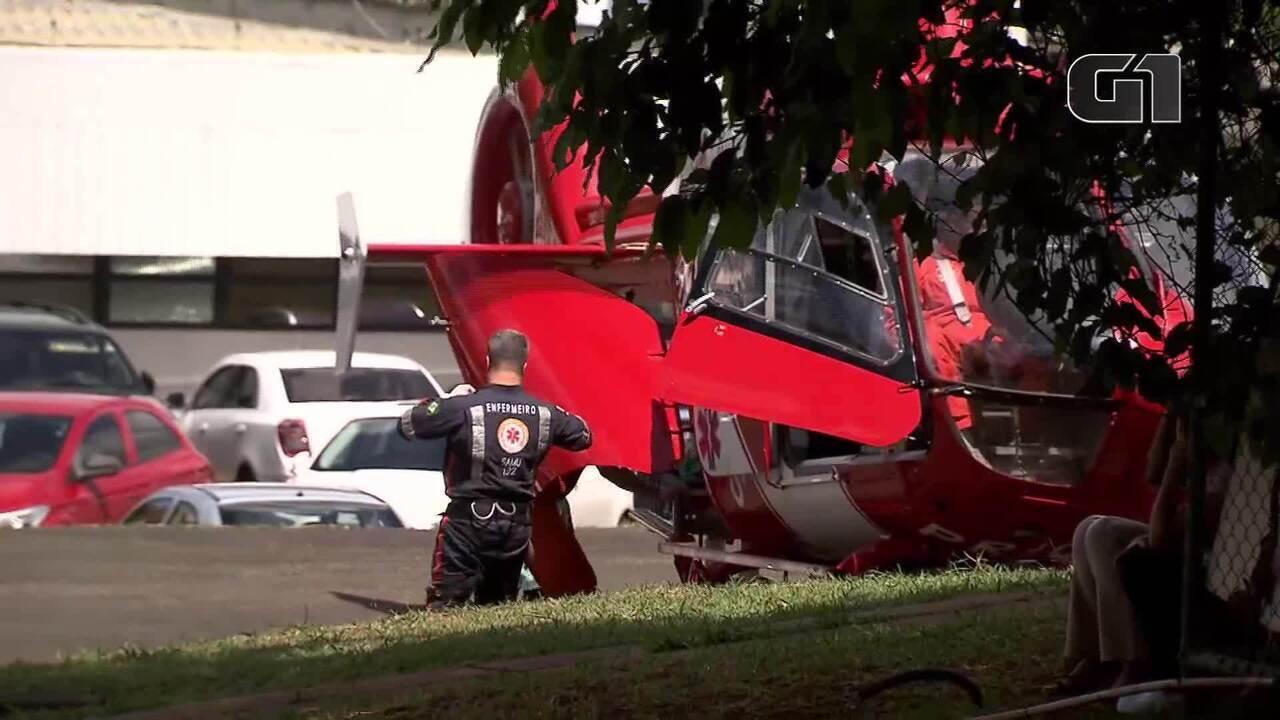 Adolescente baleado em escola do DF é transportado de helicóptero ao Hospital de Base