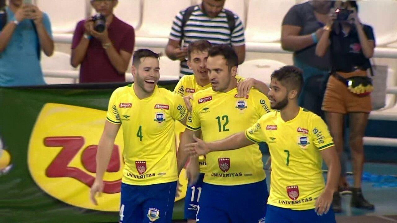 Os gols de Brasil 8 x 2 Argentina pelo Desafio das Américas de Futsal 6171d4e42ae5f