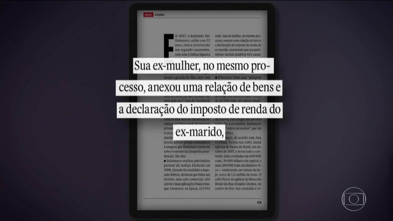 Ex-mulher acusou Bolsonaro de ter renda maior que a de deputado e militar; hoje ela nega