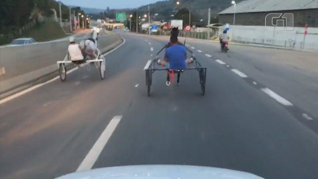 Vídeo mostra racha de charretes na Raposo Tavares em Mairinque